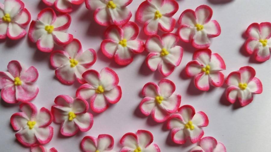 Mariage - Pink-tipped white royal icing flowers  -- Handmade cake decorations edible cupcake toppers (24 pieces)
