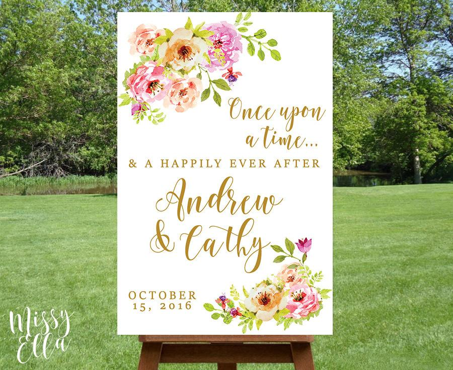 Hochzeit - Romantic Florals / Printable Wedding Welcome sign, Watercolor welcome sign printable, Reception sign printable, Wedding Poster, Digital File