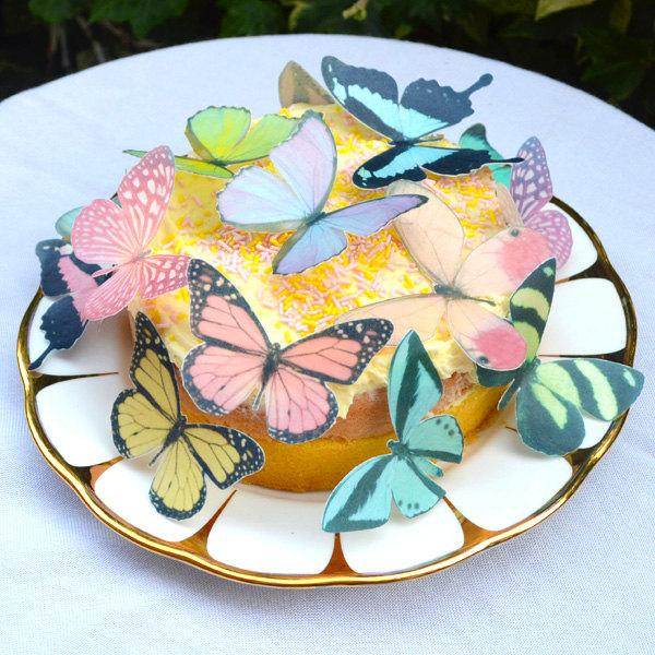 Edible PASTEL Butterflies Wafer Rice Paper Mix Colour 3D Butterfly ...