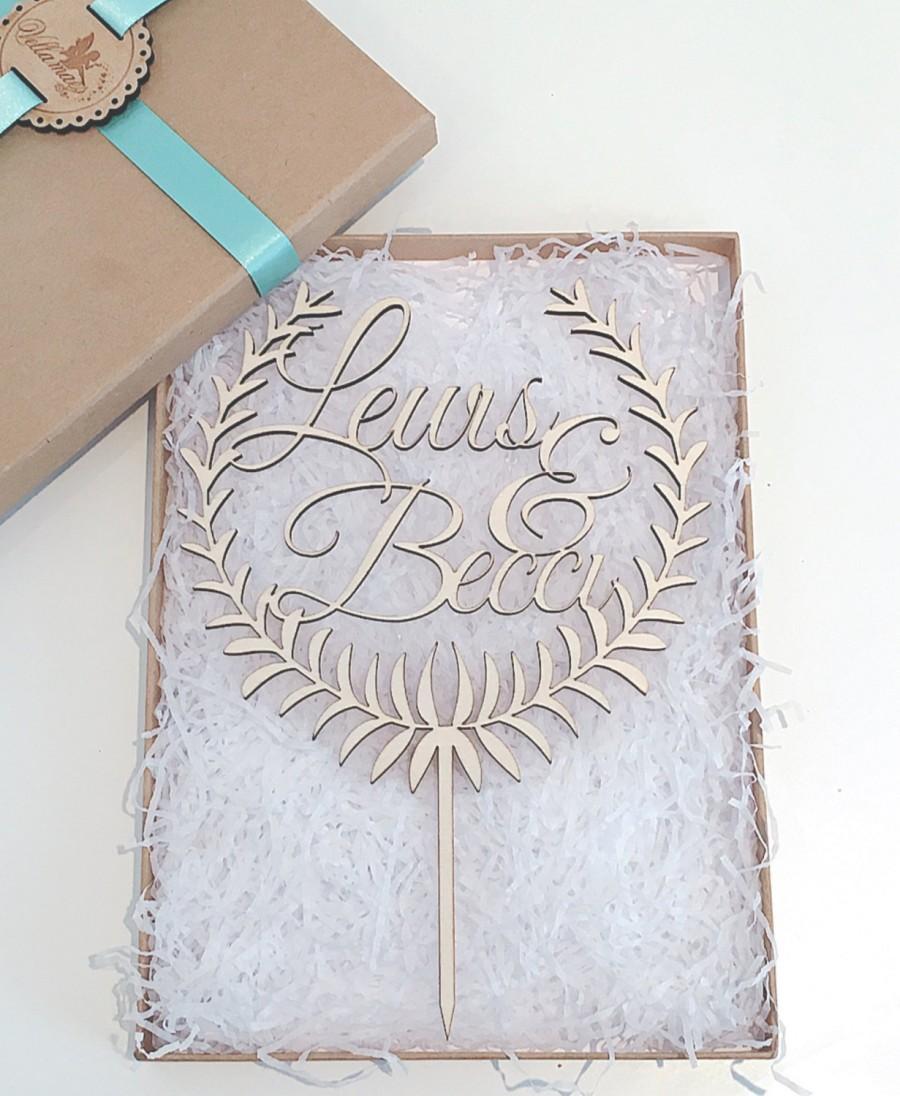 Свадьба - Personalised Wedding Cake Topper, LARGE Wooden Cake Topper, Wreath Cake Topper, Glitter Cake Topper, Rustic Cake Topper, Various Colours