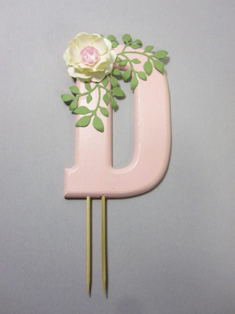 زفاف - Monogram Cake Topper with Handmade Paper Flower