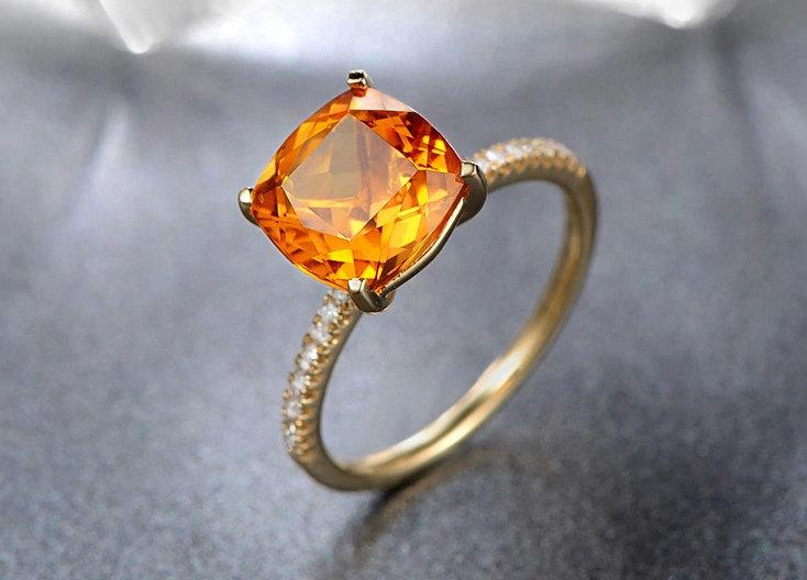 Mariage - cushion cut 1.65ct citrine ring,14K yellow gold citrine engagement ring,SI-H 0.14ct South African diamond ring,Deco wedding promise ring
