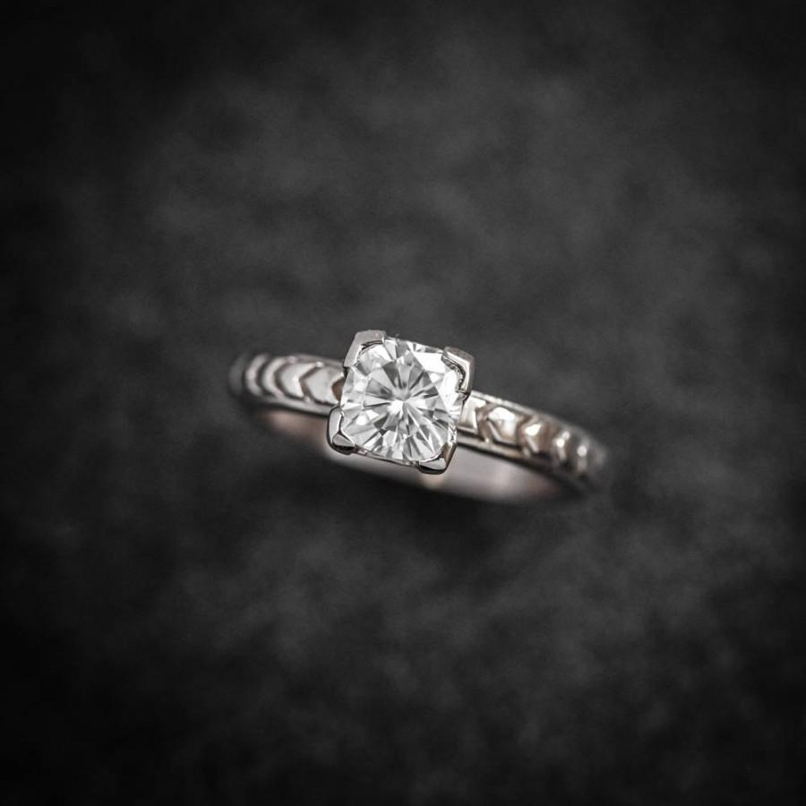 Mariage - 14k Palladium White Gold and Moissanite Four Prong Solitaire with Chevron Band, Cushion Cut Diamond Alternative, Engagement Ring, Handmade