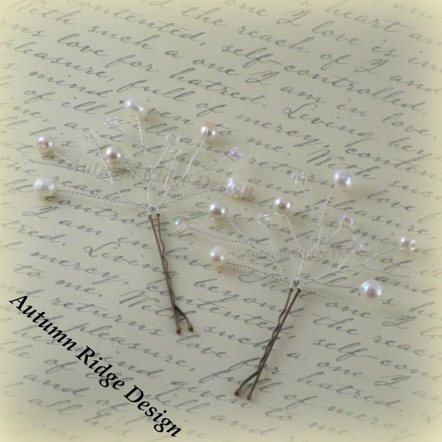 Mariage - White & Silver Hair Pin Set w/ Fresh Water, Glass Pearls