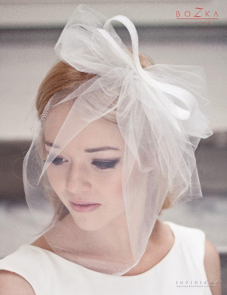 Mariage - Short veil with double bow, wedding veil, veiling, big bow