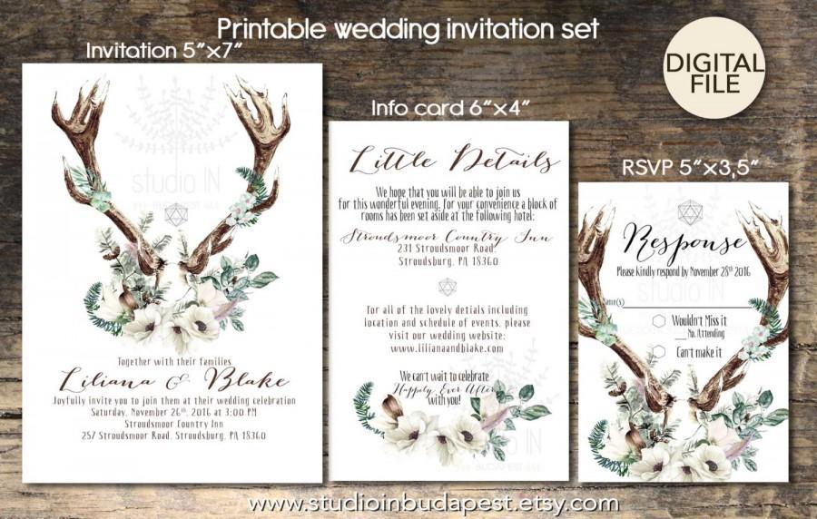 زفاف - Bohemian Wedding Invitation, boho rustic wedding, invite calligraphy, boho floral wedding, RSVP card, DIY digital invitation set, PRINTABLE