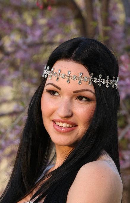 Mariage - Bridal Headband, Wedding Hair Accessories, Art Deco Crystal Headpiece, Vintage Inspired Oval and Teardrop Hair Bandeau