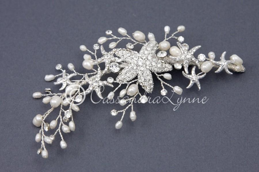 Mariage - Beach Wedding Starfish Hair Clip with Ivory Freshwater Pearls Silver Bridal Hair Piece Bride