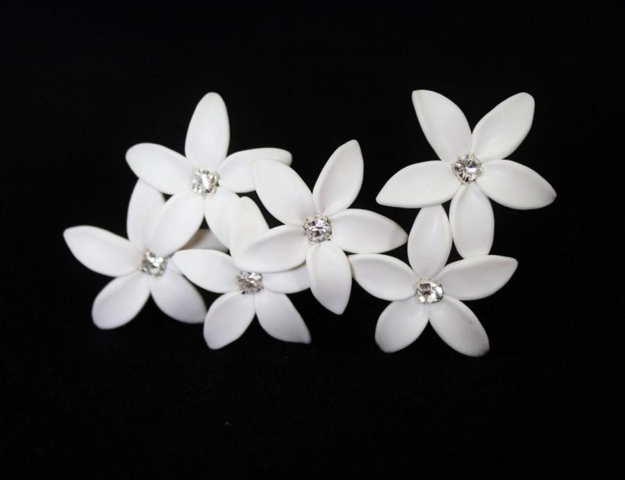 Свадьба - White Jasmine Flower Accessories Hair pin Set of 6, Jasmine Wedding Hair Accessories, Wedding Hair Flower Hair  Small Hair Flowers Set of 6