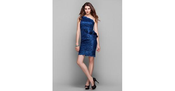 Wedding - Cocktail Party / Holiday / Prom Dress - Dark Navy Plus Sizes / Petite Sheath/Column One Shoulder Knee-length Lace