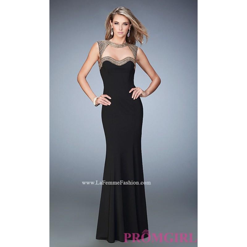 Düğün - Long Jersey Sleeveless Open Back Prom Dress by La Femme - Discount Evening Dresses