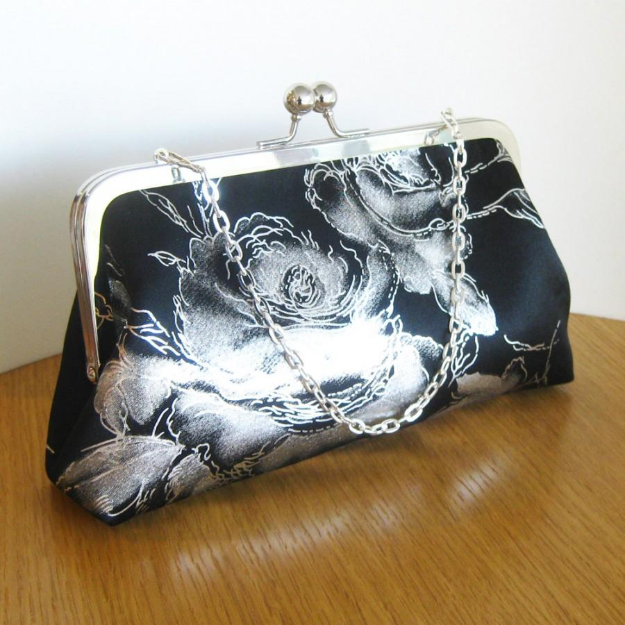 Mariage - Black Satin Metallic Silver Roses Clutch w/Chain Strap, Purse with Handle, Party Bag Gift for Bridesmaid, Ready to Ship by UPSTYLE