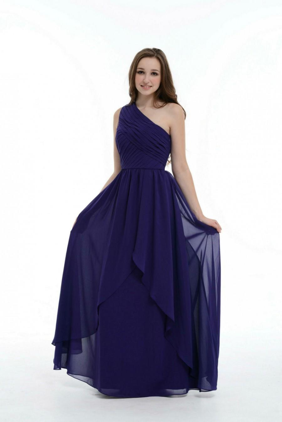 Mariage - Royal Blue Bridesmaid Dress, One Shoulder Floor-Length Chiffon Bridesmaid Dress With Ruffle