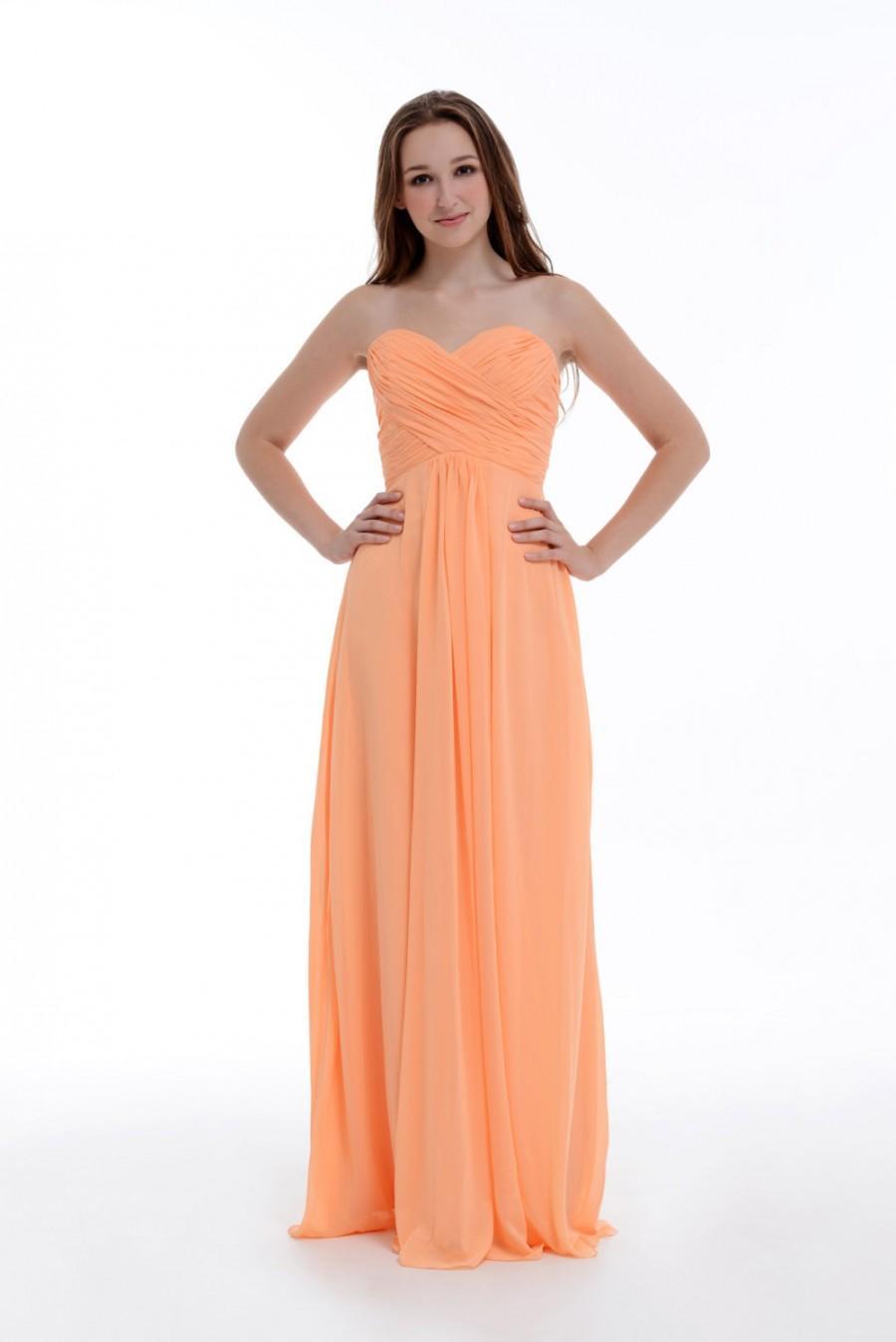 Mariage - Peach Bridesmaid Dress, Empire Sweetheart Floor-Length Chiffon Bridesmaid Dress/Homecoming Dress/Prom Dress With Ruffle