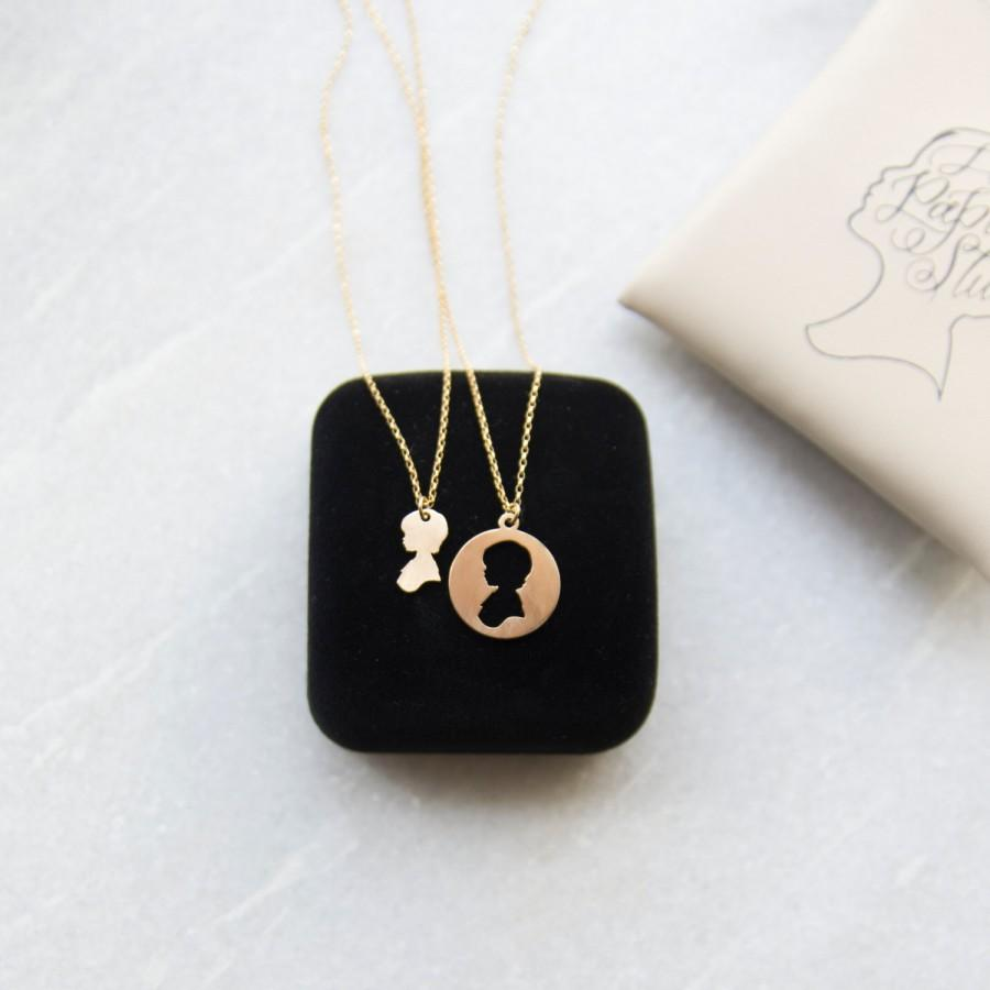 Mother daughter necklace mothers day necklace set custom silhouette mother daughter necklace mothers day necklace set custom silhouette charm mother and child jewelry set laser cut jewelry silver or gold mozeypictures Images