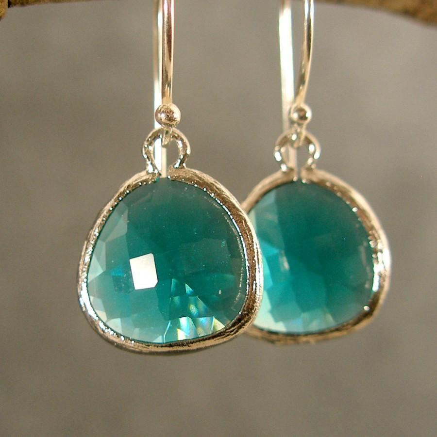 Hochzeit - Teal Green Glass Silver Bridesmaids Earrings, Wedding Earrings, Silver Earrings, Bridesmaid Gifts (3821W)