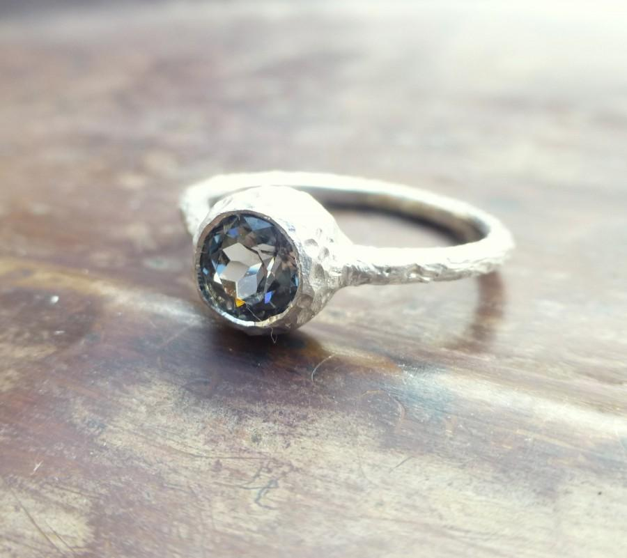 زفاف - Spinel ring. Blue spinel ring. 14k white gold spinel ring. Textured  spinel ring. Ready to ship. Spinel promise ring.