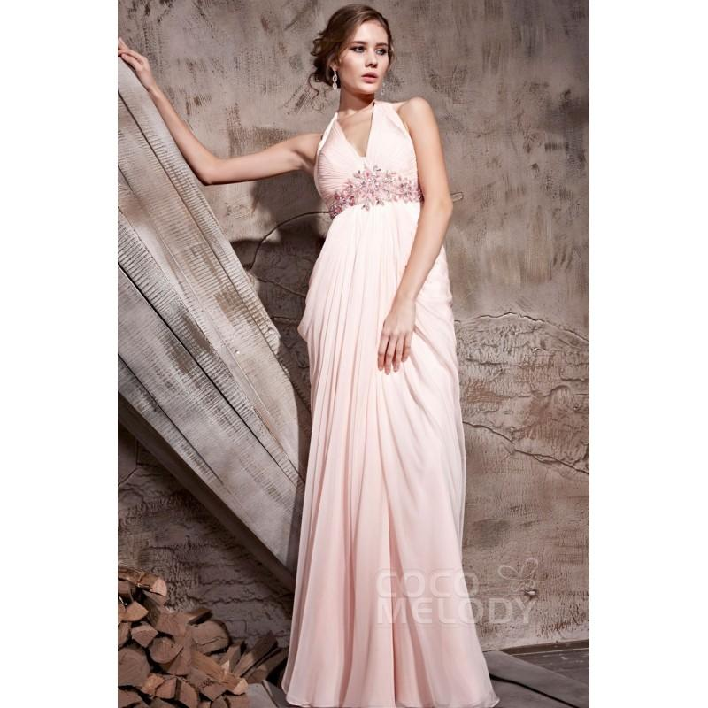 Boda - Fancy Sheath-Column Halter Empire Floor Length Chiffon Veiled Rose Backless Evening Dress with Draped and Crystals COSF1408A - Top Designer Wedding Online-Shop