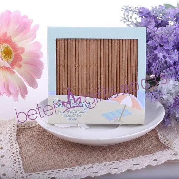 Свадьба - Beter Gifts® 夏天海邊主題BD035日式風格竹杯墊,婚禮答謝來賓小禮物情人節七夕beterwedding