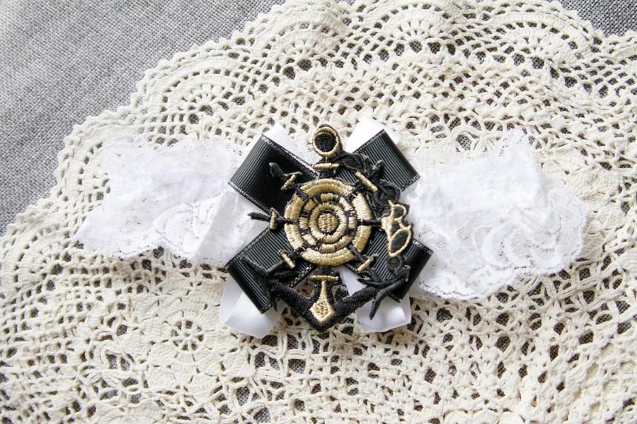 Hochzeit - Anchor Garter Nautical Garter Marine Navy Garter - Military Wedding Garter Black Gold Garter Wedding Garter - Lace Garter