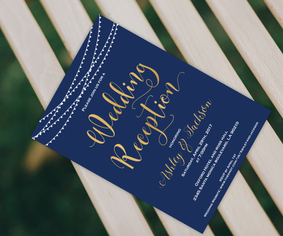 Hochzeit - Wedding Reception Invitation - Navy Blue Wedding - Reception Invitation - Navy Blue and Gold Invitation - Wedding Printable