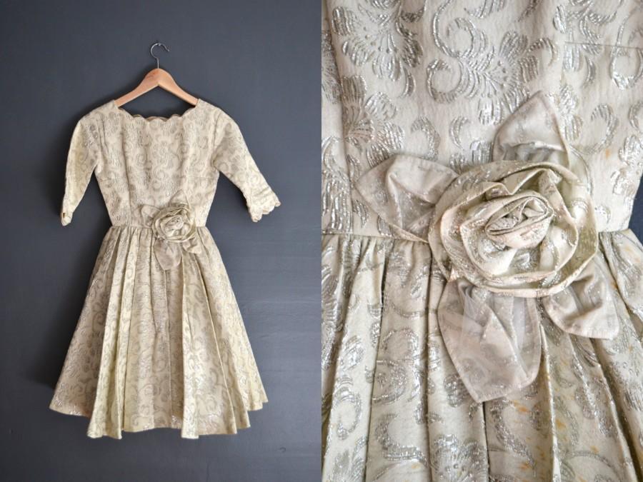 Wedding - 50s brocade dress / short wedding dress