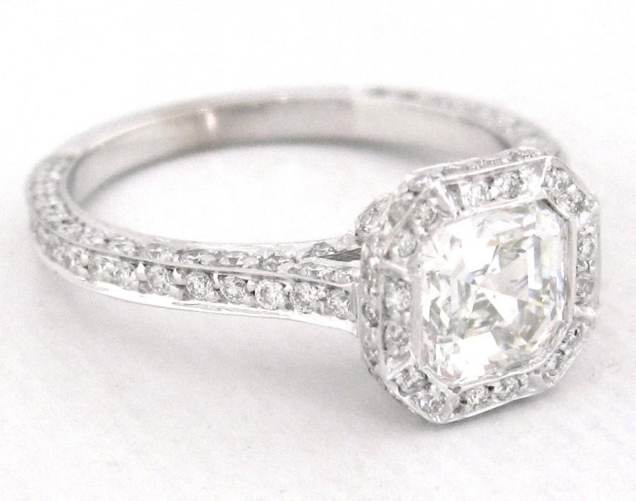 Mariage - Asscher cut diamond bezel engagement ring 1.75ctw