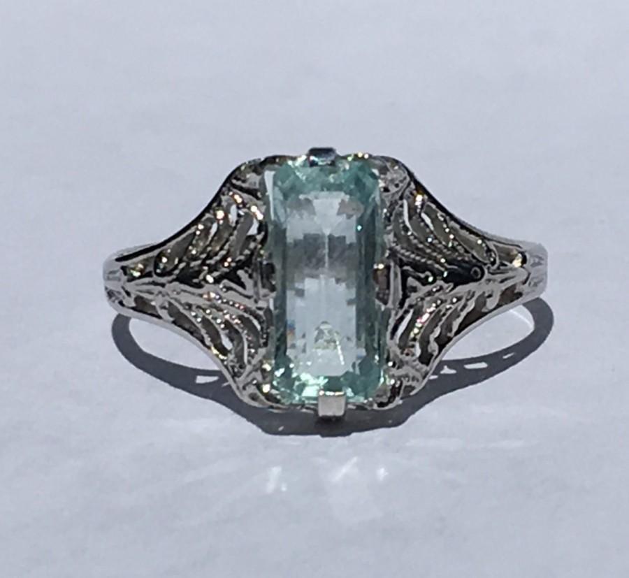 زفاف - Vintage Aquamarine Ring. 10k White Gold Filigree Setting. Promise Ring. Unique Engagement Ring. March Birthstone. 19th Anniversary Gift.