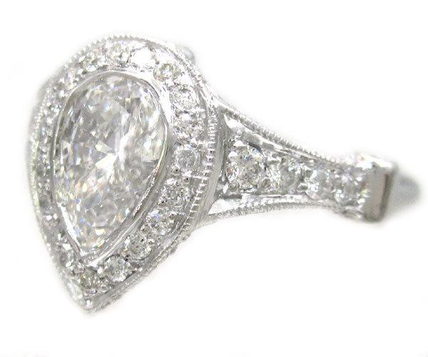 زفاف - 14k white gold pear shape diamond bezel set engagement ring art deco 1.49ctw