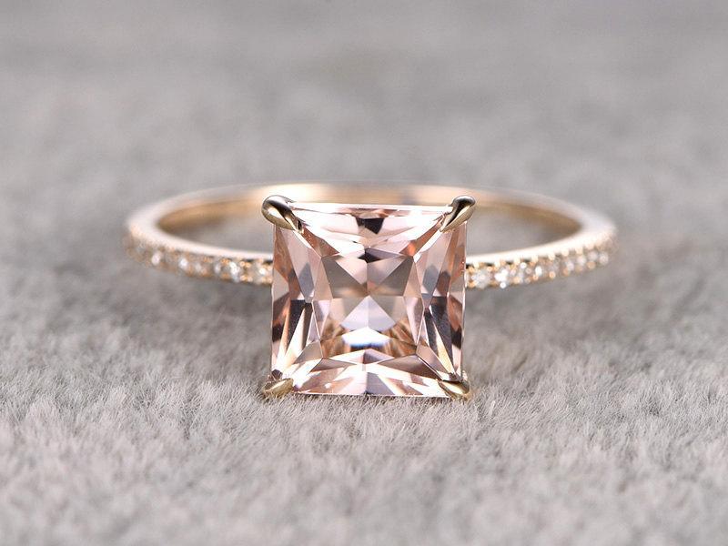 Свадьба - 8mm Princess Morganite Engagement ring Yellow gold,Diamond wedding band,Gemstone Promise Ring,Bridal Ring,Thin band,Stacking,Claw prongs