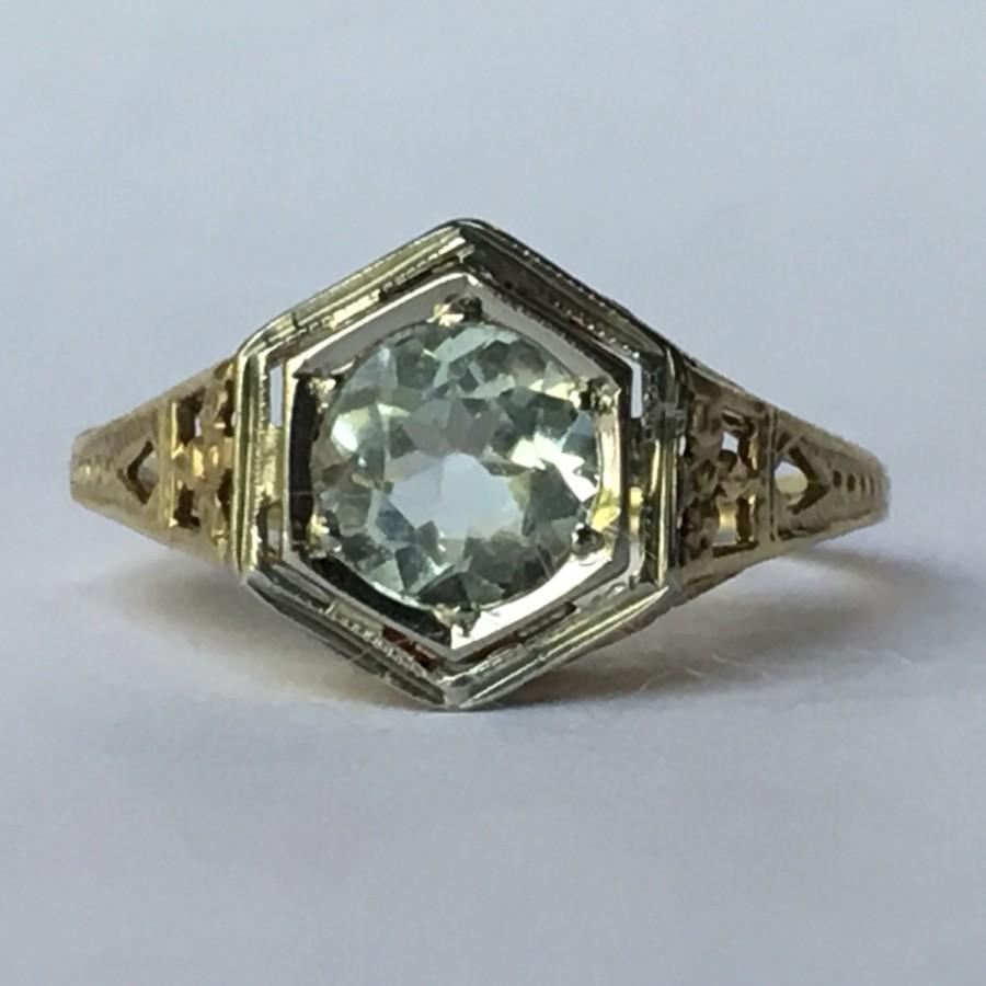 زفاف - Vintage Aquamarine Ring. 10k Gold Art Deco Filigree Setting. 1+ Carat. Unique Engagement Ring. March Birthstone. 19th Anniversary Gift.