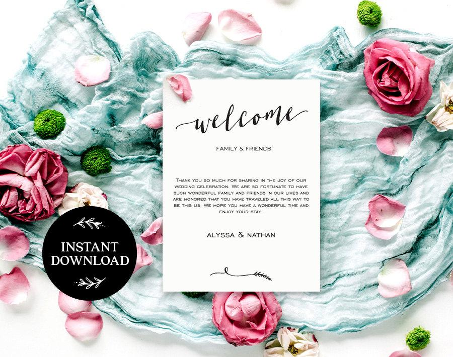 Welcome Bag Letter Printable Editable Pdf Instant Download