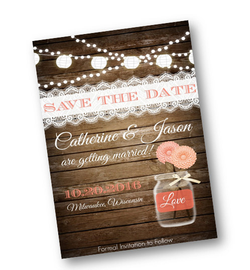 Wedding - Coral Wedding Save the Date Coral Peach Wood Rustic mason jar card  string of lights rustic lace vintage shabby chic printable invitation