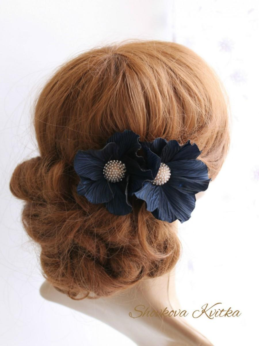 Navy blue flower hair clip dark blue flower hairpins navy blue navy blue flower hair clip dark blue flower hairpins navy blue hair piece two navy blue fabric heir flowers bridal hair flower izmirmasajfo