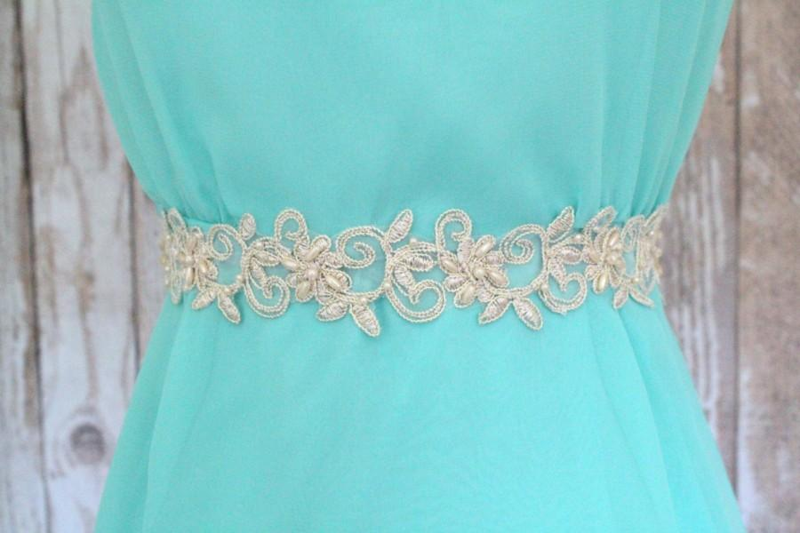 Mariage - Light Gold Pearl Beaded Lace with Champagne Ribbon  Sash, Bridal Gold Sash, Bridesmaid Gold Sash,Flower Girl Gold Lace Sash