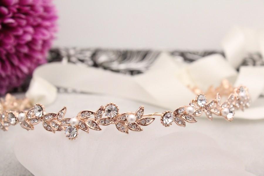 Hochzeit - Wedding Hair Wreaths & Tiaras,Rose gold Bridal headband,Wedding hair accessories,Pearl tiaras and headband,Wedding hair vine,Ribbon headband