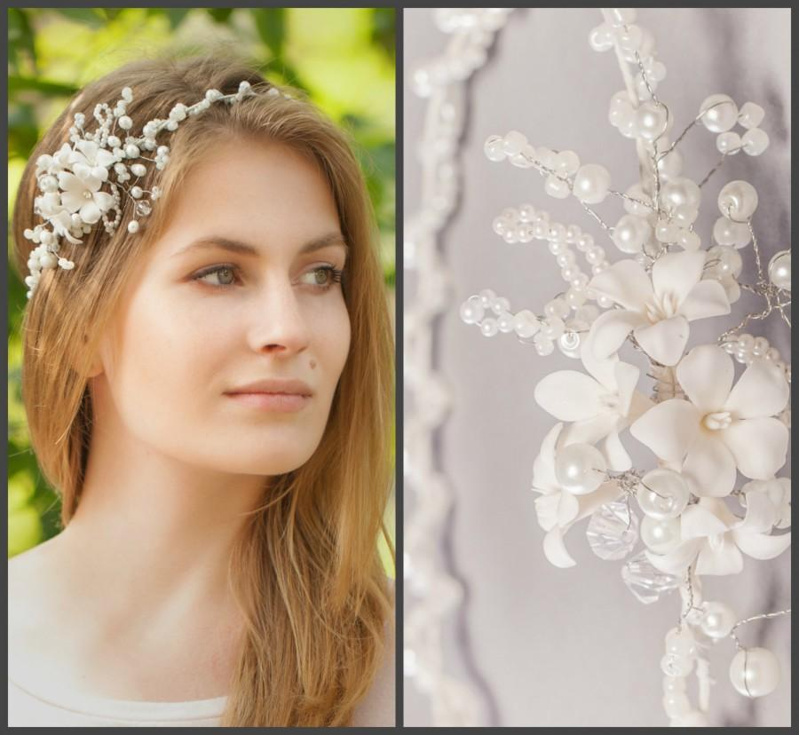Mariage - Mermaid Crown, Pearl Wedding Headband, Mermaid Rhinestone Headband, Bridal Pearl Hair Wreath, Wedding Crown, Rhinestone Wreath