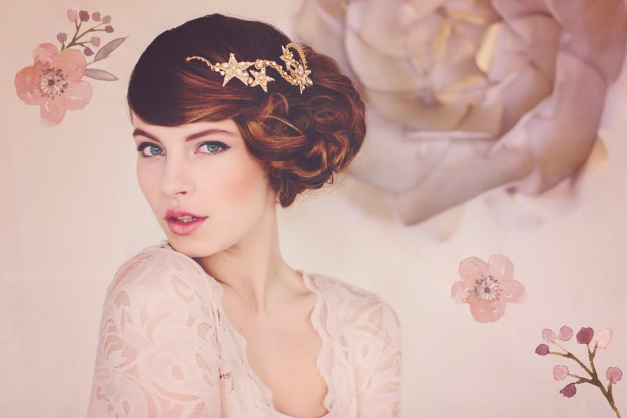 Hochzeit - Star Wedding Tiara, Gold Crystal Bridal Headpiece, Star Headpiece, Winter Weddings, Bridal Headpiece, the Cassiopeia Gold Star Tiara #134
