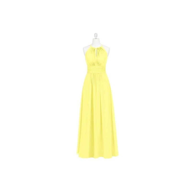 Boda - Lemon Azazie Bonnie - Chiffon Halter Floor Length Back Zip Dress - The Various Bridesmaids Store