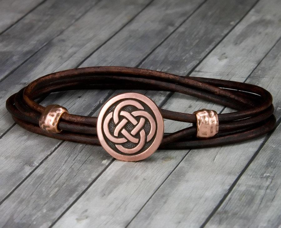زفاف - Copper Celtic Knot Red Leather Bracelet - Leather Wrap Bracelet - Mens Leather Bracelet - Womens Leather Bracelet - Valentines Day - Celtic