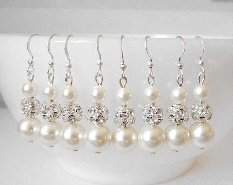 Wedding - Bridesmaid earrings, set of 6, pearl bridesmaid jewelry, pearl and rhinestone wedding earrings, bridesmaid earings, bridesmaids gift