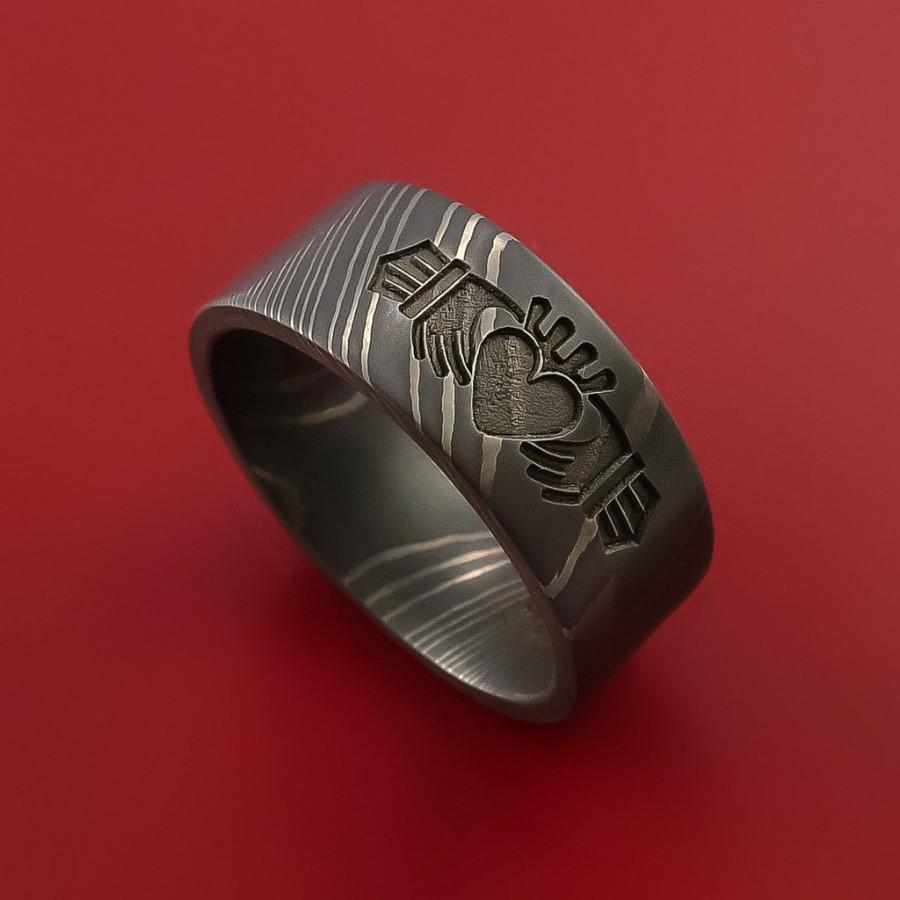 Damascus Steel Celtic Irish Claddagh Ring Hands Clasping A Heart ...