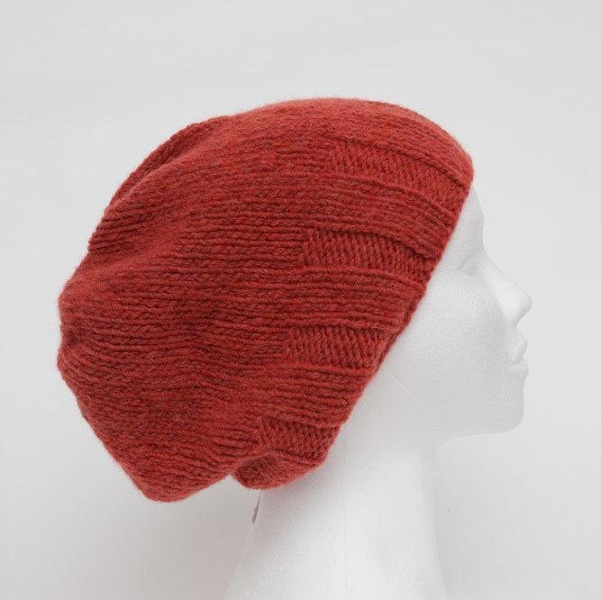 Hochzeit - Orange Red Knit hats women Womens beanies Wool slouchy beanie Merino hat man Knit Winter Mens merino wool beanies
