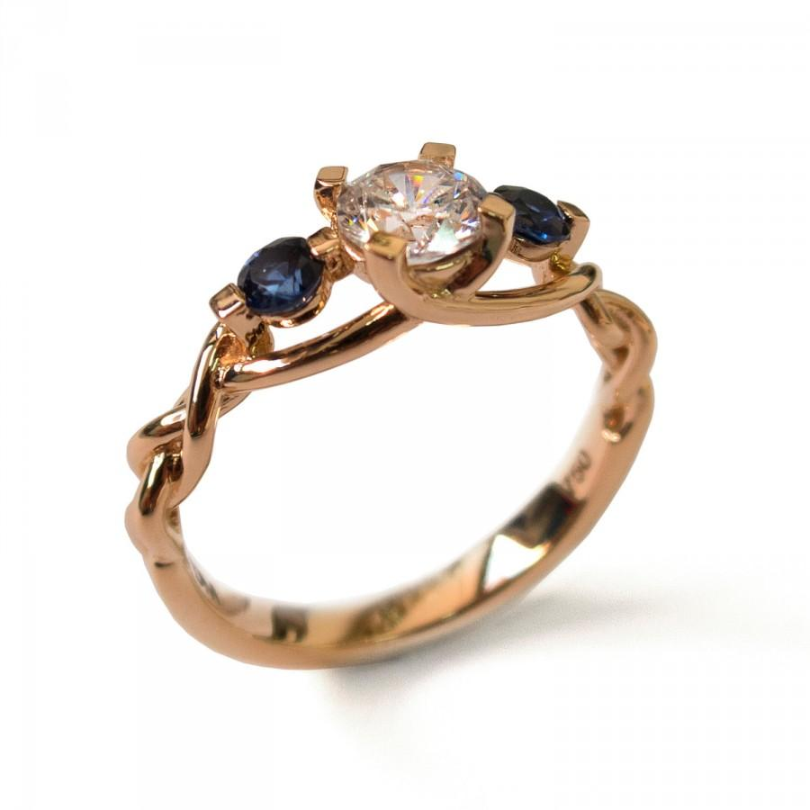 Braided Ring Moissanite And Sapphires Engagement Ring Rose Gold
