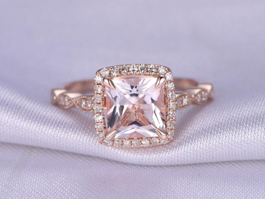 cut ring wedding pink engraved gold vintage handmade carat style princess three rose antique engagement rings morganite diamond stone
