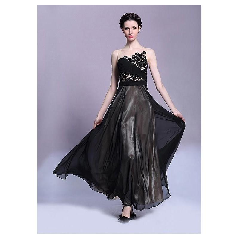 Boda - In Stock Elegant South Korea Chiffon & Heavy Malay Satin Bateau Neckline Ankle Length A-line Formal Dress - overpinks.com