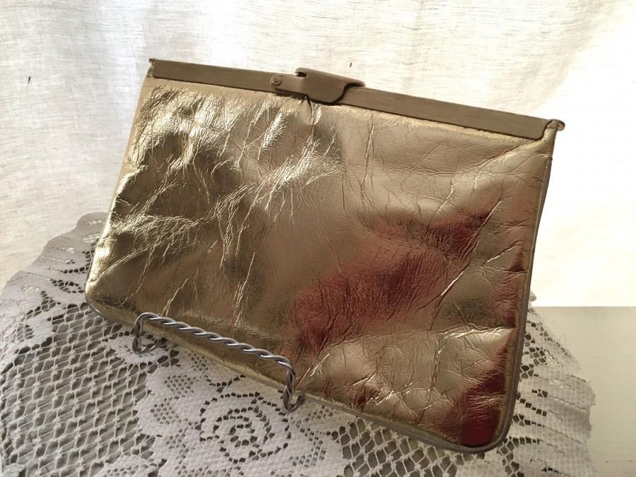 Mariage - Vintage 1970s/1980s Evening Bag - Gold Metallic Purse - RETRO Purse - Gold Fabric Handbag - Bridal Wedding Prom - Cocktail Clutch