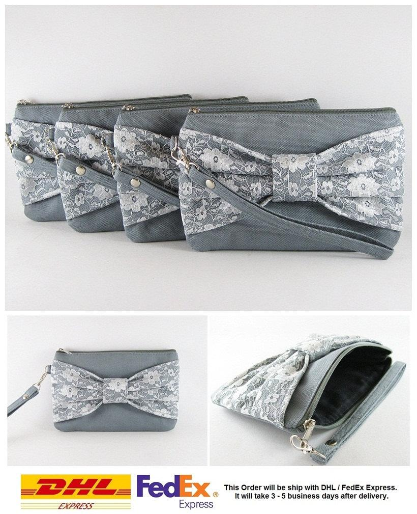 Wedding - SUPER SALE - Set of 5 Gray Lace Bow Clutches - Bridal Clutches, Bridesmaid Clutches, Bridesmaid Wristlet, Wedding Gift - Made To Order