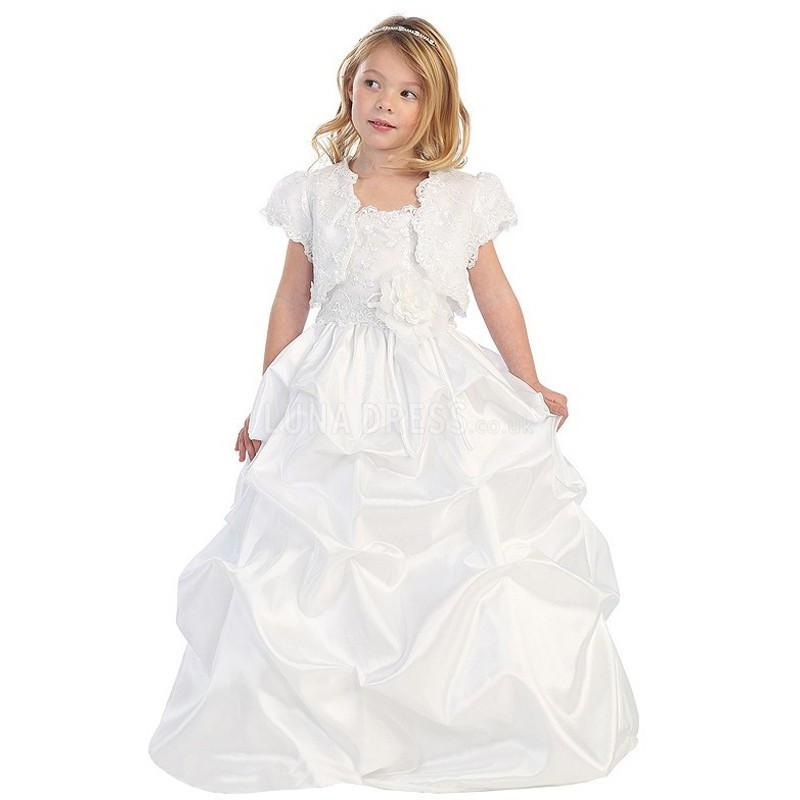 Wedding - Elegant Princess Spaghetti Straps Floor Length Taffeta & Lace Flower Girl Dress - Compelling Wedding Dresses