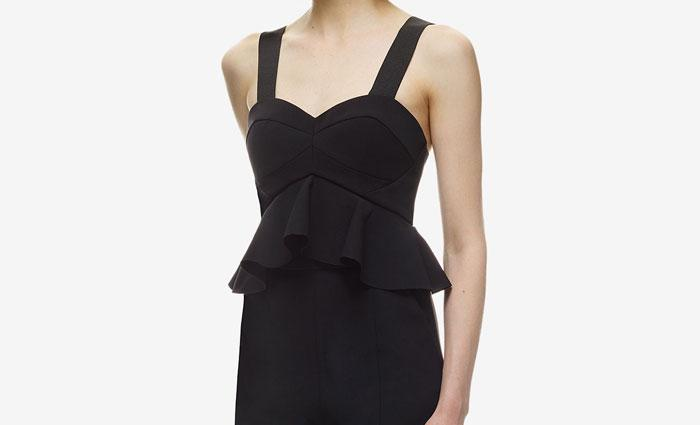 Boda - Self Portrait Peplum Detail Flared Leg Jumpsuit Black